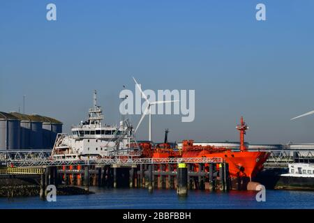 A docked Chemical and Oil Products Tanker in the 7th petroleum harbor with a tank farm in the back