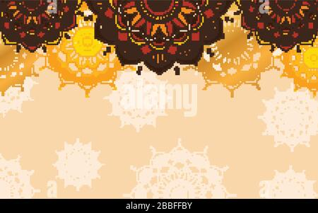 Background design with mandala patterns in brown color illustration - Stock Photo