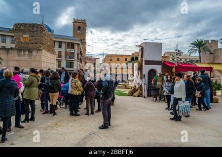 ELCHE, SPAIN - DECEMBER 29, 2018: Living Nativity scene in the town of Elche, Alicante province, Spain, a Christian tradition during the Christmas sea - Stock Photo
