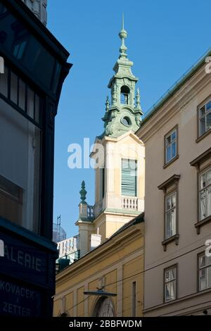 view from Dorotheergasse towards Reformierte Stadtkirche, Vienna, Austria - Stock Photo