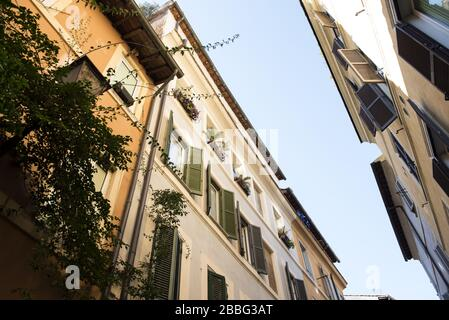A street scene and Ancient House in the Trastevere district of Rome, Italy - Stock Photo