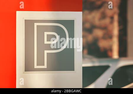 Parking sign. Parking traffic signal in the street in the city. - Stock Photo