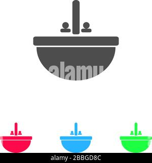 Washbasin icon flat. Color pictogram on white background. Vector illustration symbol and bonus icons - Stock Photo