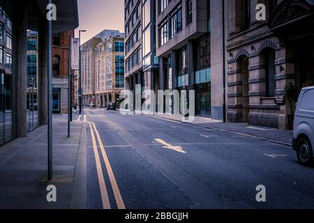 Booth Street, Manchester, United Kingdom. Empty streets during Coronavirus outbreak, March 2020. - Stock Photo