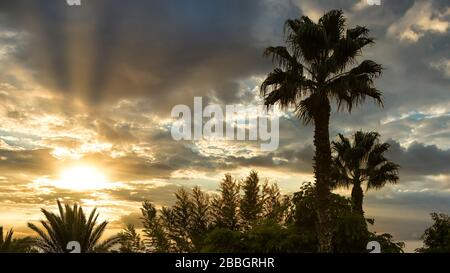 Sunset over the Sea of Galilee from the Golan Heights, Israel, Middle East. - Stock Photo