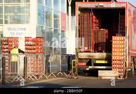 London, England / UK - March 28th 2020: Supermarket delivery due to food shortage due to Coronavirus panic buying - Stock Photo