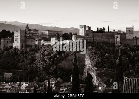 Granada Alhambra panoramic view over mountain in Spain. - Stock Photo