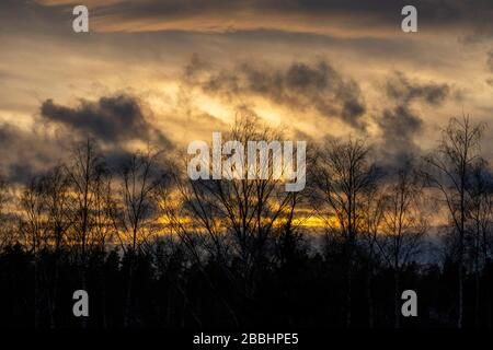 Springtime sunset in Finnish city Espoo with no people - Stock Photo