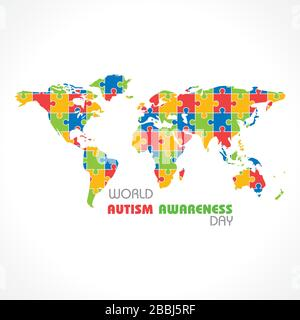 World autism awareness day with colorful puzzles vector background. Symbol of autism. - Stock Photo