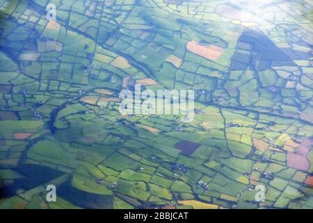 Irish agriculture fields  aerial view, Ireland - Stock Photo
