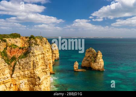 Atlantic Ocean and Cliffs in Lagos, Portugal