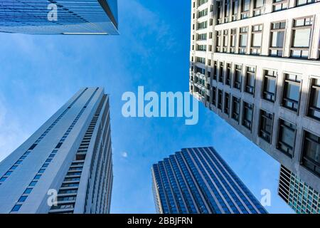 Upwards View of Multiple Skyscrapers in Downtown Chicago