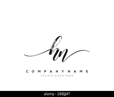 HN Initial Letter handwriting logo hand drawn template vector, logo for beauty, cosmetics, wedding, fashion and business - Stock Photo