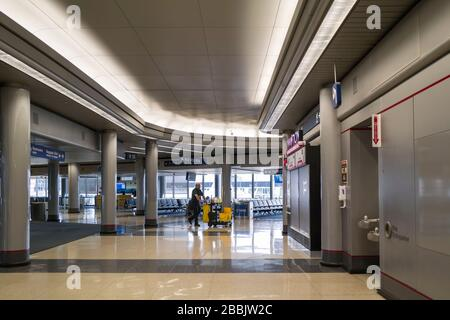 O'Hare International Airport in Chicago, once one of the busiest Airports in the USA is now completely empty due to the Coronavirus COVID-19 pandemic.