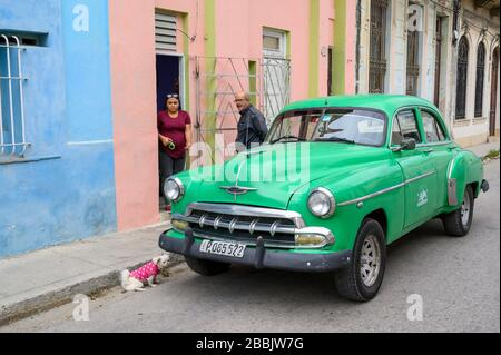 Old Chevrolet and dog, with couple, Havana, Cuba - Stock Photo