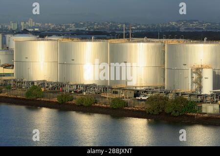 Oil Refinery on the Brisbane River, Brisbane, Queensland, Australia - Stock Photo