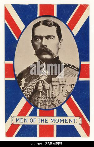 Early 1900's patriotic postcard from WW1 era depicting Lord Kitchener, 1st Earl Kitchener, Secretary of State for War (a cabinet minister) - one of a series entitled  'Men of the Moment', posted 1915 - Stock Photo