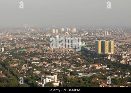 Jakarta, Indonesia - October 20, 2019: General east view of the city of Jakarta, the capital of Indonesia, Java island, submerged by the dense smoke.