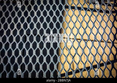 Metal garden chair close-up with geometric shapes - Stock Photo