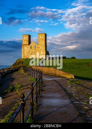 Reculver Towers and Roman Fort Herne Bay at Sunset distance view - Stock Photo