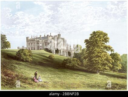 A coloured illustration of Lambton Castle, Chester-le-Street scanned at high resolution from a book printed in 1870. Believed copyright free. - Stock Photo