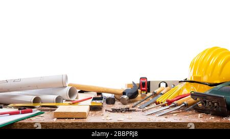 Close-up. Carpenter's workbench  with tools for woodworking. Construction industry. Isolated on a white background. - Stock Photo