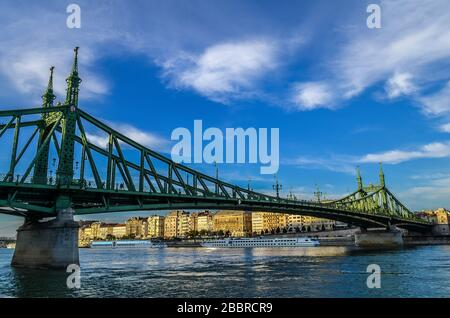Liberty Bridge over the Danube River in Budapest, Hungary