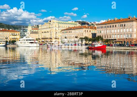 Rijeka - June of 2012, Croatia: View of Rijeka skyline and harbor, cityscape of the city center - Stock Photo