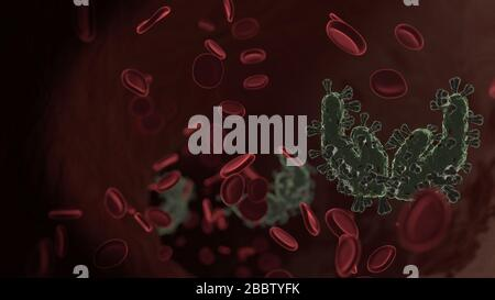 microscopic 3D rendering view of virus shaped as symbol of open hands inside vein with red blood cells