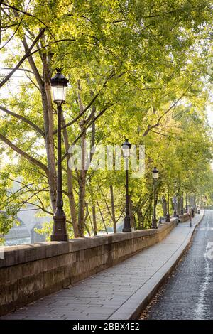 Early morning sunlight on Tree-lined walkway along River Seine on Ile Saint Louis, Paris, France - Stock Photo