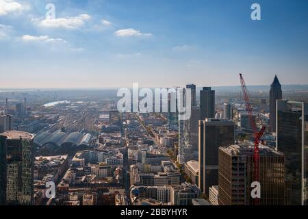 Frankfurt am Main, Germany - October 21, 2018: Aerial panorama cityscape with buildings of financial district such as Trianon (Sparkasse), Messeturm ( - Stock Photo