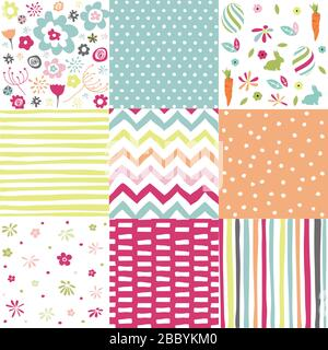 Spring, easter patterns. Vector seamless backgrounds. - Stock Photo
