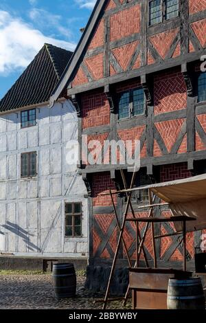 Den Gamle By, the beautiful open-air museum in the heart of Aarhus in Denmark. Den Gamle By means The Old Town - Stock Photo
