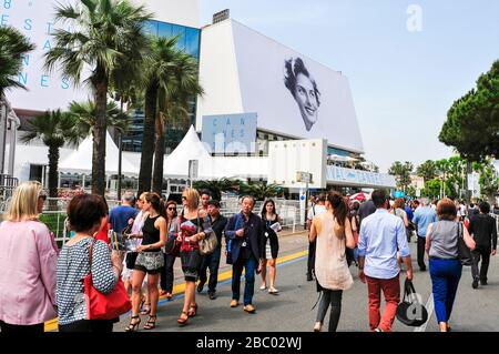 CANNES, FRANCE - MAY 14: People around the Palais des Festivals, in the Promenade de la Croisette, during the 68 edition of the Cannes Film Festival o