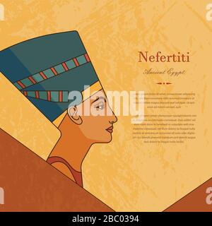 A template with the queen of Egypt Nefertiti in profile with a place for text. - Stock Photo