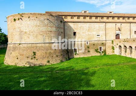Rocca Costanza degli Sforza or Fortress Castle of Costance of the Sforzas exterior partial view in Pesaro, Province of Pesaro and Urbino, Marche Regio - Stock Photo