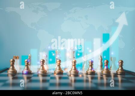 Selective focus of chess and growth business graph behind chess. World map in the background. The concept of the key success of business and finance i - Stock Photo