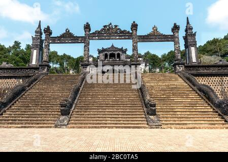 Steps  from street level to reach the Khai Dinh Royal Tomb in Hue, Vietnam - Stock Photo