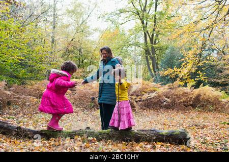 Mother and daughters playing on fallen log in autumn woods - Stock Photo