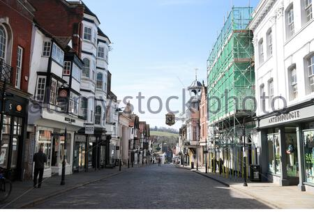 Embargoed to 0001 Friday April 03 File photo dated 24/3/2020 of an empty high-street in Guildford the day after Prime Minister Boris Johnson put the UK in lockdown to help curb the spread of the coronavirus. Britain's high street retailers suffered their worst month on record in March as they were hammered by the Covid-19 lockdown, according to new figures. - Stock Photo
