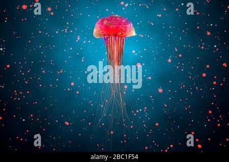 Three dimensional render of red glowing jellyfish swimming underwater - Stock Photo