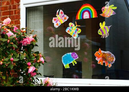 1st April 2020, Southborough, Kent, UK: Children's drawings of insects, animals and a rainbow for passers by in window of a house during the government imposed quarantine / lockdown to reduce the spread of the coronavirus. Children across the country have been putting drawings of rainbows in windows to spread hope and encourage people to stay cheerful during the pandemic.