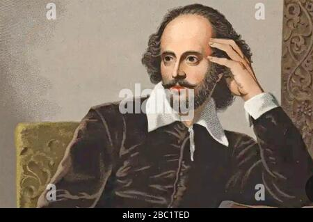 WILLIAM SHAKESPEARE (1564-1616) English playwright and poet in a 19th century image - Stock Photo