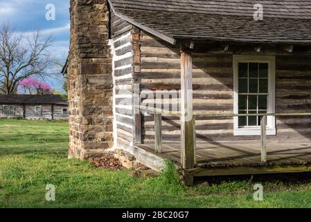 View from log-built officer's quarters to fort stockade at the Fort Gibson Historical Site in Fort Gibson, Oklahoma's oldest town. (USA) - Stock Photo