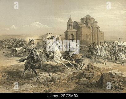 Grigory Gagarin. Escarmouche de Persans et de Kurdes. - Stock Photo