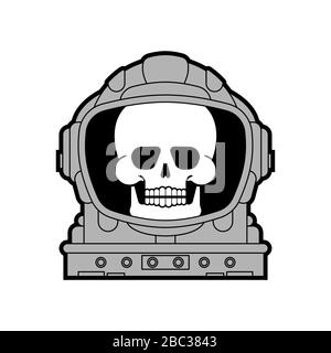 Skull in Astronaut helmet isolated. Death in spacesuit. Skeleton head in spaceman helmet. vector background - Stock Photo