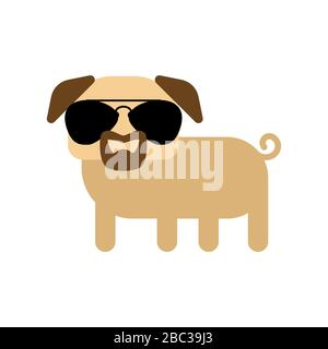 Cool pug with glasses and goatee beard - Stock Photo