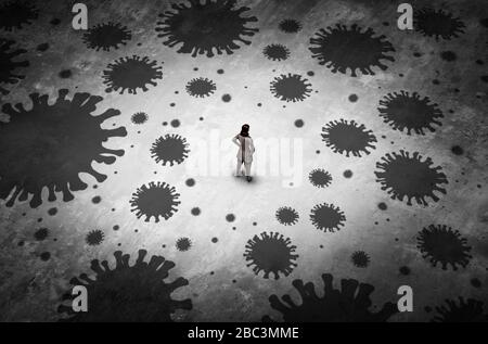 Disease outbreak anxiety and pandemic psychology or health fear of contagion or psychological fears of disease or virus infections. - Stock Photo