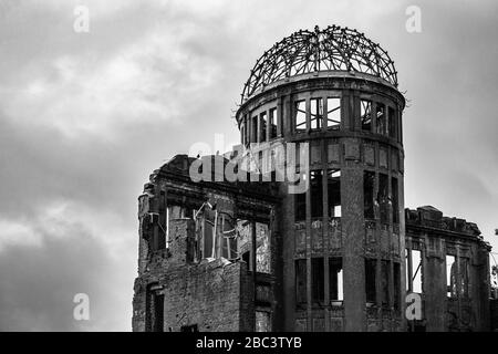 Black and white view of A-Bomb Dome or Genbaku Dome at Hiroshima Peace Memorial Park, UNESCO World Heritage Site, Japan - Stock Photo