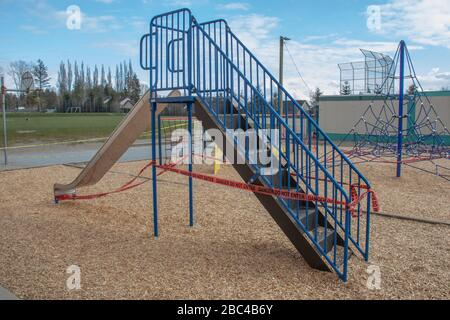 Local elementary school playground and park closed down due to covid-19 and new social distancing laws